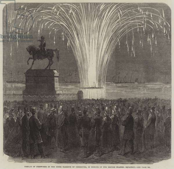Display of Fireworks in the Inner Harbour of Cherbourg, in Honour of the British Channel Squadron (engraving)