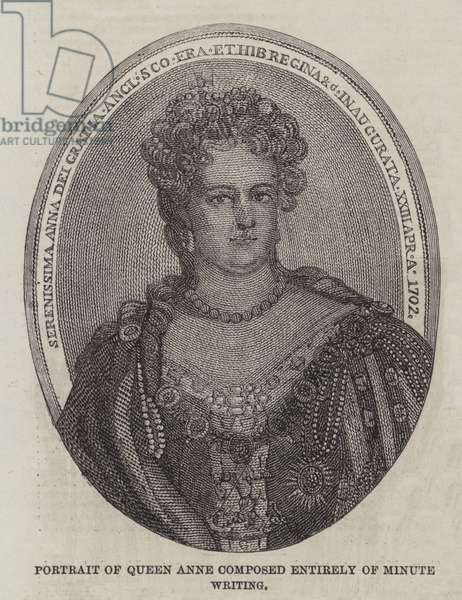 Portrait of Queen Anne composed entirely of Minute Writing (engraving)