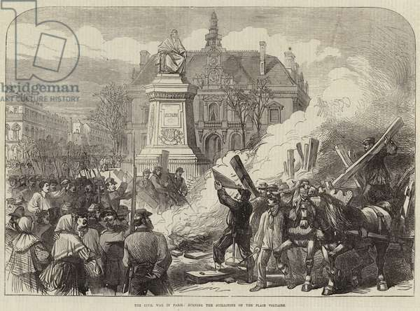 The Civil War in Paris, burning the Guillotine on the Place Voltaire (engraving)
