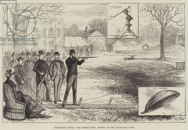 Bloodless Sport, the Terra-Cotta Pigeon at the Ranelagh Club (engraving)
