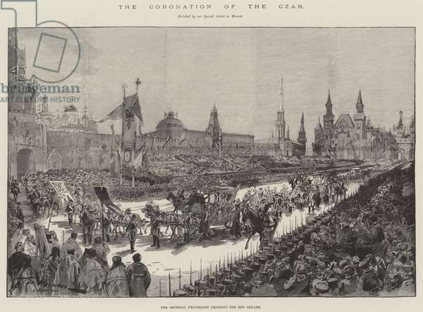 The Coronation of the Czar, the Imperial Procession crossing the Red Square (engraving)
