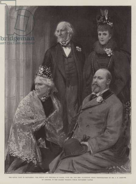 The Royal Visit to Hawarden, the Prince and Princess of Wales, with Mr and Mrs Gladstone, being photographed by Mr J H Spencer, of Chester, in the Golden Wedding Porch, Hawarden Castle (litho)