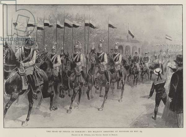 The Shah of Persia in Germany, His Majesty arriving at Potsdam on 29 May (engraving)