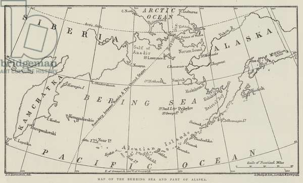 Map of the Behring Sea and Part of Alaska (engraving)