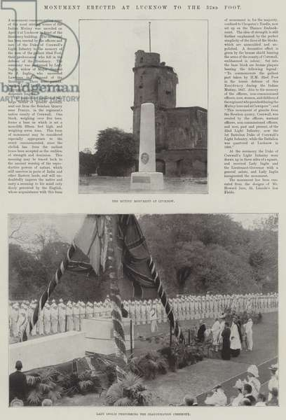 Monument erected at Lucknow to the 32nd Foot (b/w photo)