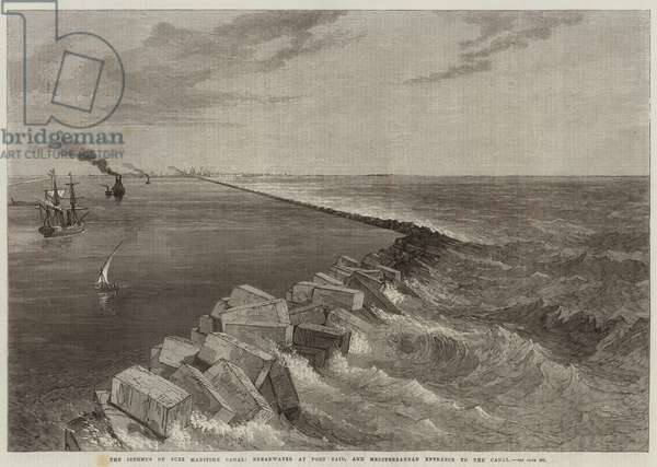 The Isthmus of Suez Maritime Canal, Breakwater at Port Said, and Mediterranean Entrance to the Canal (engraving)
