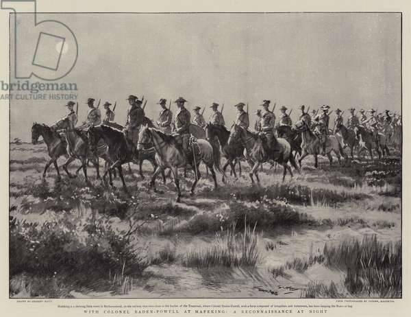 With Colonel Baden-Powell at Mafeking, a Reconnaissance at Night (litho)