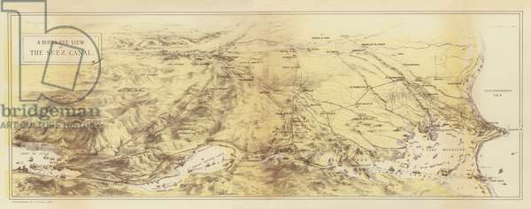 A Birds Eye View of the Suez Canal (chromolitho)