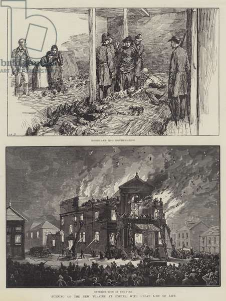 Burning of the New Theatre at Exeter, with Great Loss of Life (engraving)