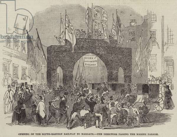 Opening of the South-Eastern Railway to Margate, the Directors passing the Marine Parade (engraving)