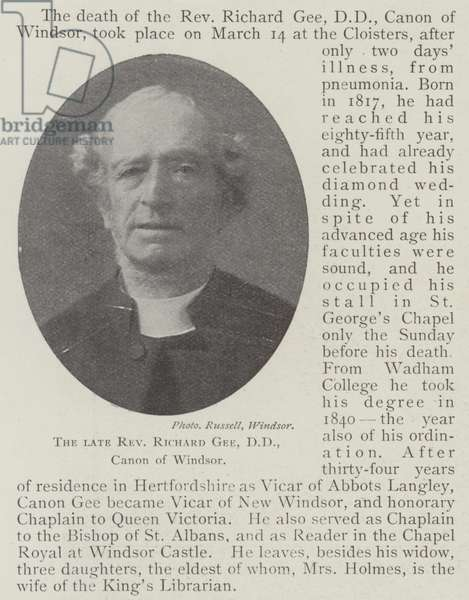 The late Reverend Richard Gee, DD, Canon of Windsor (b/w photo)