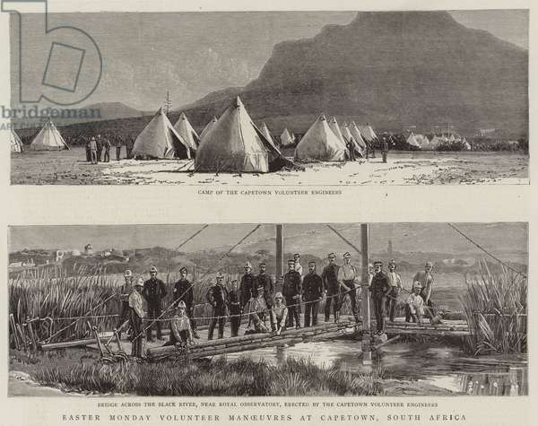 Easter Monday Volunteer Manoeuvres at Capetown, South Africa (engraving)