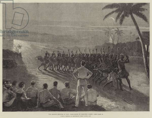 The Sailor Princes at Fiji, War-Dance by Electric Light (engraving)