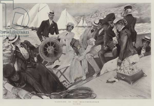 Yachting in the Mediterranean (litho)