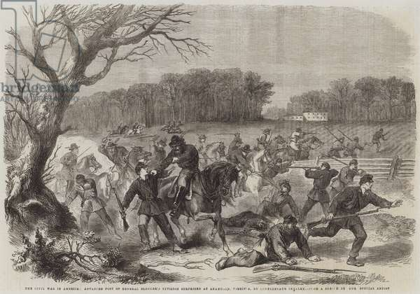 The Civil War in America, Advanced Post of General Blenker's Division surprised at Anandale, Virginia, by Confederate Cavalry (engraving)