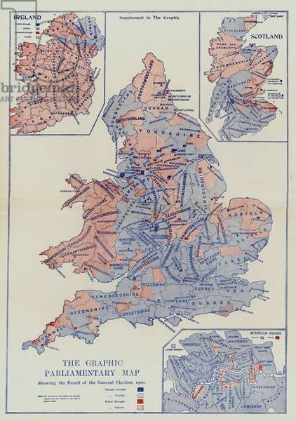 The Graphic Parliamentary Map showing the Result of the General Election, 1900 (colour litho)
