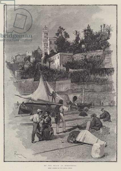 On the Beach at Bordighera (engraving)