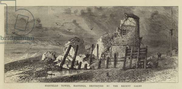 Martello Tower, Hastings, destroyed by the Recent Gales (engraving)