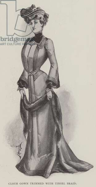 Cloth Gown trimmed with Tinsel Braid (litho)