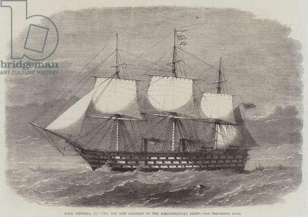 HMS Victoria, 102 Guns, the New Flagship of the Mediterranean Fleet (engraving)