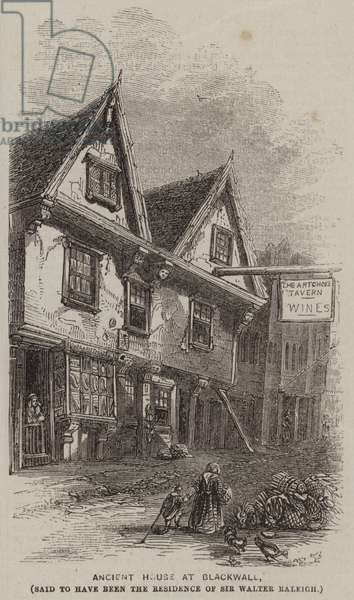 Ancient House at Blackwall, said to have been the Residence of Sir Walter Raleigh (engraving)