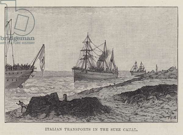 Italian Transports in the Suez Canal (engraving)