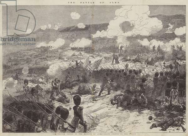 The Battle of Alma, the British Troops on the Heights of Alma, Grand Charge of the Guards (engraving)