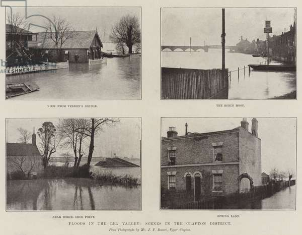 Floods in the Lea Valley, Scenes in the Clapton District (engraving)