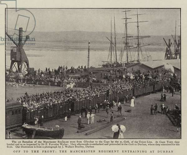 Off to the Front, the Manchester Regiment entraining at Durban (b/w photo)