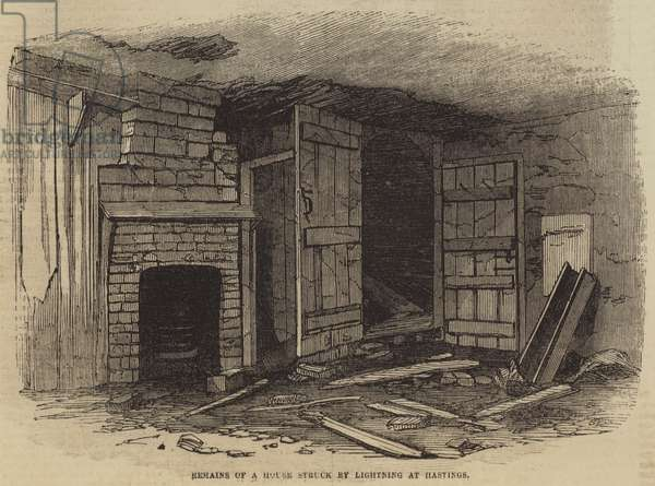 Remains of a House struck by lightning at Hastings (engraving)