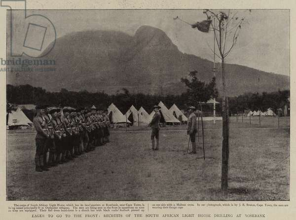 Eager to go to the Front, Recruits of the South African Light Horse drilling at Rosebank (b/w photo)