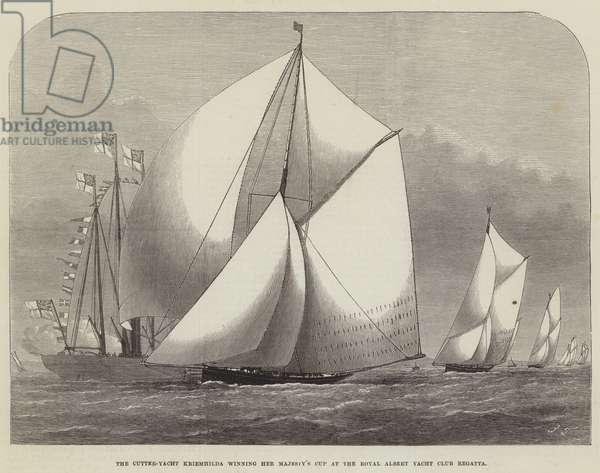 The Cutter-Yacht Kriemhilda winning Her Majesty's Cup at the Royal Albert Yacht Club Regatta (engraving)