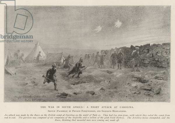 The War in South Africa, a Night Attack at Carolina (litho)