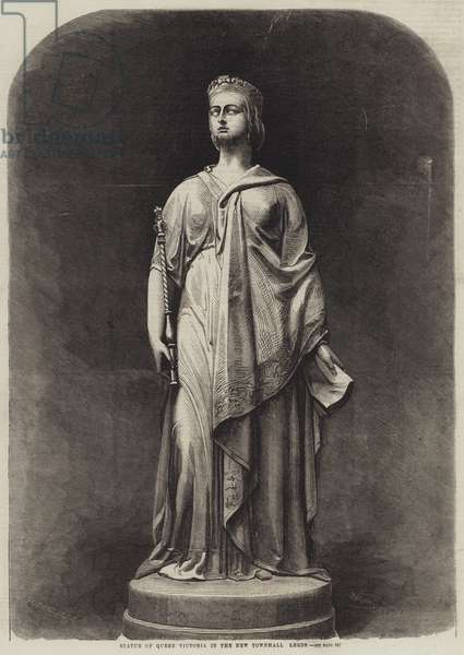 Statue of Queen Victoria in the New Townhall, Leeds (engraving)
