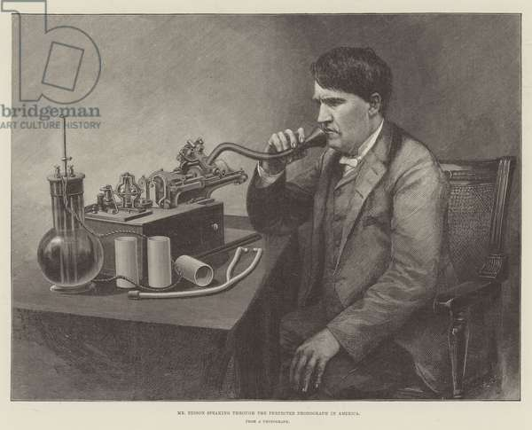 Mr Edison speaking through the Perfected Phonograph in America (engraving)