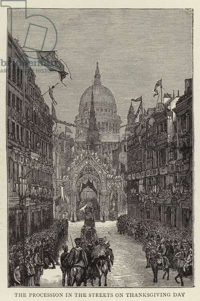The Procession in the Streets on Thanksgiving Day (engraving)