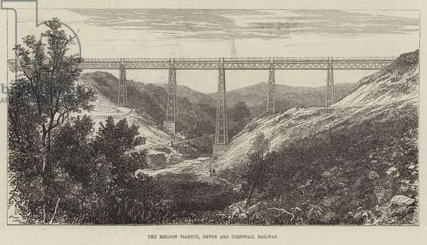 The Meldon Viaduct, Devon and Cornwall Railway (engraving)