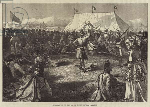 Amusements in the Camp of the London Scottish, Wimbledon (engraving)