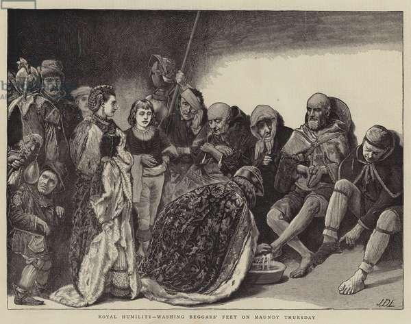 Royal Humility, washing Beggars' Feet on Maundy Thursday (engraving)