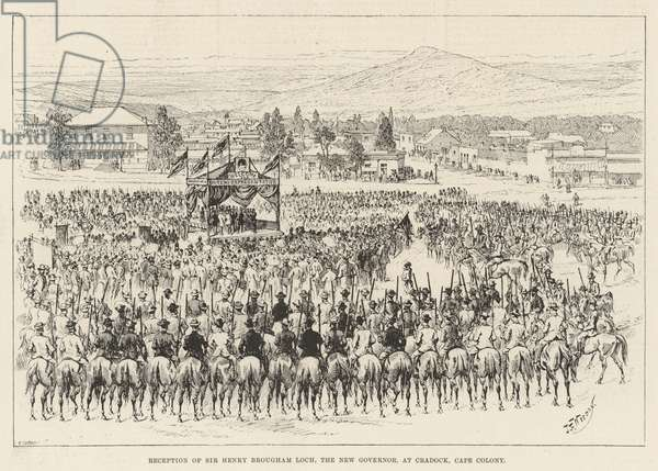 Reception of Sir Henry Brougham Loch, the New Governor, at Cradock, Cape Colony (engraving)