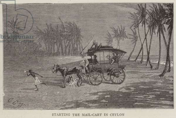 Starting the Mail-Cart in Ceylon (engraving)