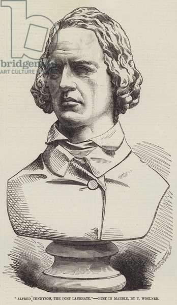 """""""Alfred Tennyson, the Poet Laureate,"""" Bust in Marble, by T Woolner (engraving)"""