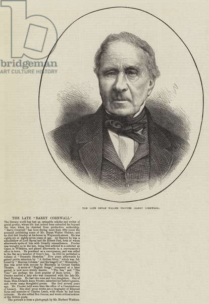 The late Bryan Waller Procter (Barry Cornwall) (engraving)