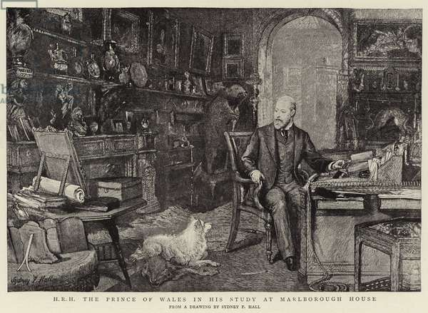 H R H The Prince of Wales in his Study at Marlborough House (engraving)