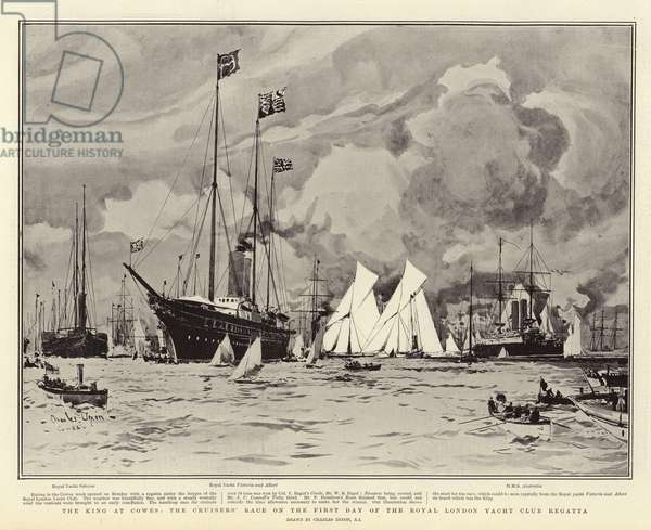 The King at Cowes, the Cruisers' Race on the First Day of the Royal London Yacht Club Regatta (litho)