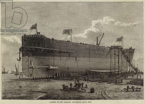 Launch of the Faraday, Telegraph Cable Ship (engraving)