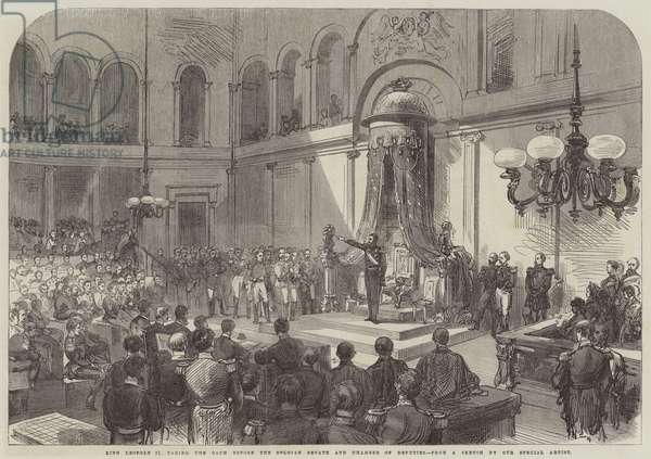 King Leopold II taking the Oath before the Belgian Senate and Chamber of Deputies (engraving)