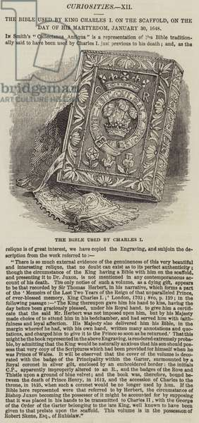 The Bible used by King Charles I on the Scaffold, on the Day of his Martyrdom, 30 January 1648 (engraving)