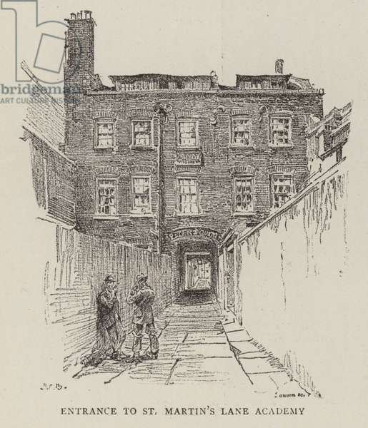 Entrance to St Martin's Lane Academy (engraving)