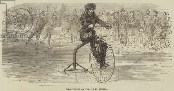 Velocipeding on the Ice in America (engraving)